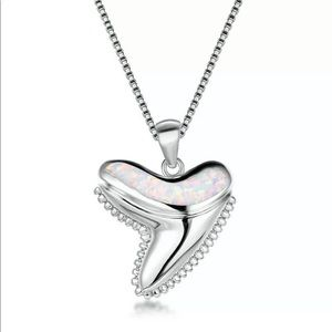 Jewelry - Silver & Opal Shark Tooth Necklace